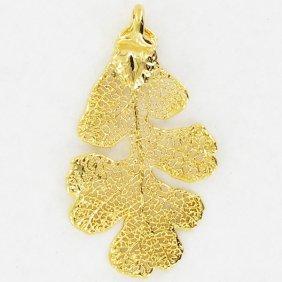 Gold Filled Lacy Oak Leaf Pendant