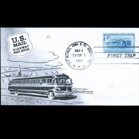1952 Us Scarce Highway Post Off. 1st Trip Postal Cover