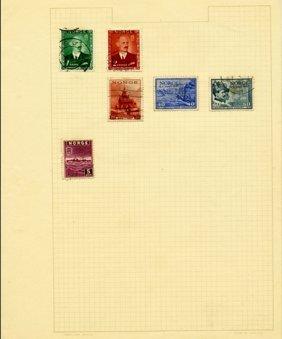 1940s Norway Hand Made Stamp Album Page 6pcs