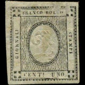 1861 Scarce Italy Sardina 1c News Stamp Error Mnh