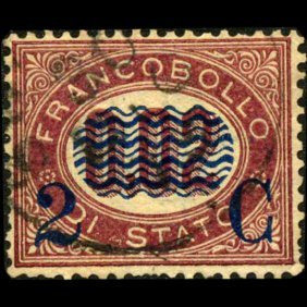 1878 Scarce Italy 2c Overprint Stamp