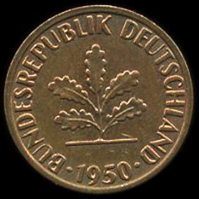 1950j Germany 1pf Au+ Error