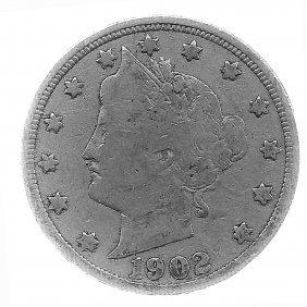 1902 Better Grade Lib 5c Partial Liberty Showing