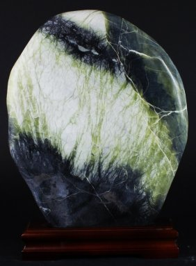"12"" Natural Picture Agate Slab On Stand"