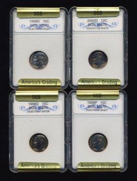 1998-2000 Roosevelt Dime Set Graded Gems