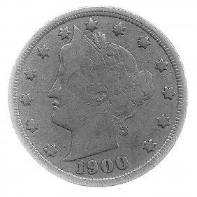 1900 Better Grade Lib 5c Partial Liberty Showing
