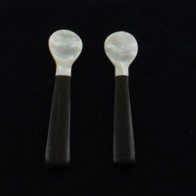 Mother Of Pearl Black Ebony Wood Spoon