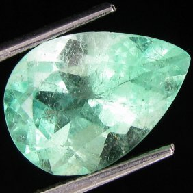 4.86ct Natural Colombian Neon Mint Green Emerald