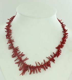 135twc Natural Sicilian Red Coral Necklace Strand