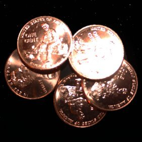 2009d Log 5 Choice/gem Bu Lincoln Cents From Unopened