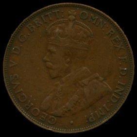 1923m Australia Large Penny Hi Grade Xf Bv $50
