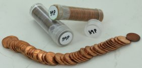 1959 Unsearched Estate Hoard Bu Cent 3 Rolls Of 50