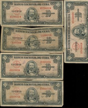 1949 Cuba 10 Peso Circulated Note 10pcs