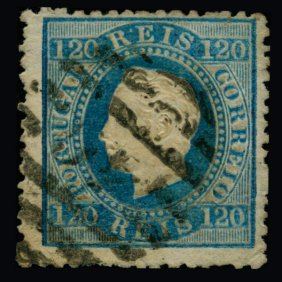 1866 Scarce Portugal 120r Blue Used Stamp