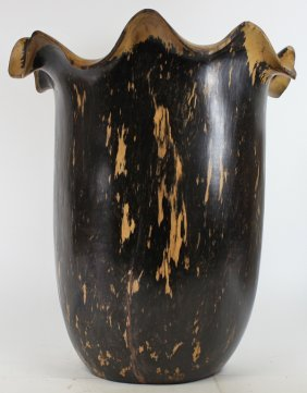 Ebony Burl Handcarved Wood Vase