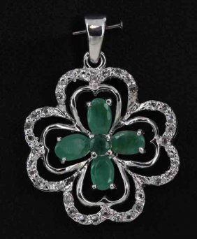 25.55twc Emerald Gold Vermeil Pendant
