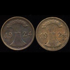 1924e/f Germany 2pf Au/unc 2pcs.