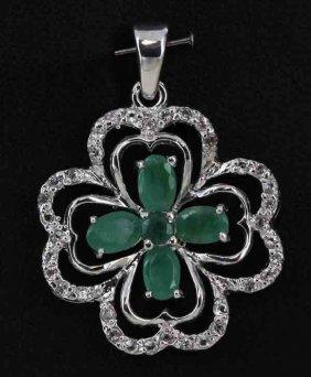 25twc Emerald Gold Vermeil Pendant