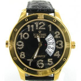 New Ice Time Mens Diamond Bezel Double Face Watch