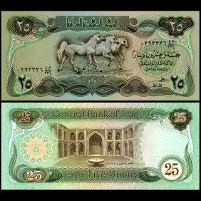 1981 Iraq 25 Dinar Note Gem Crisp Unc