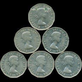 1958/59 Canada 5c Nickel Xf/au 6 Pcs