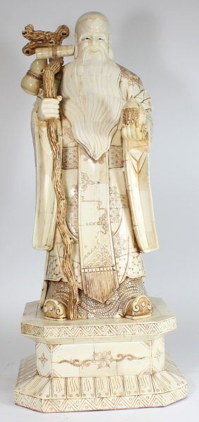 Handcarved Chinese Bone Big Wise Man
