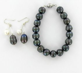 Saltwater Black & White Pearl Bracelet & Earrings