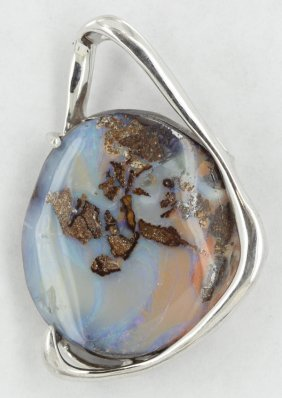 72.56twc Australia Boulder Opal Sterling Pendant