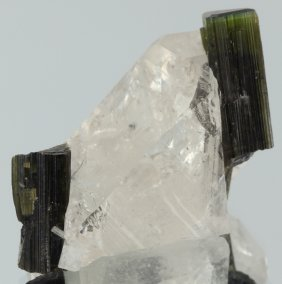 100ct Natural Green Tourmaline Crystals On Quartz