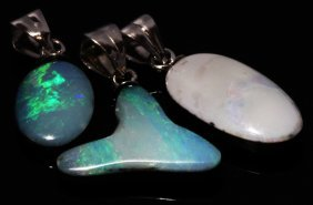 10twc Black Opal Doublet Sterling Pendant Lot 3pcs