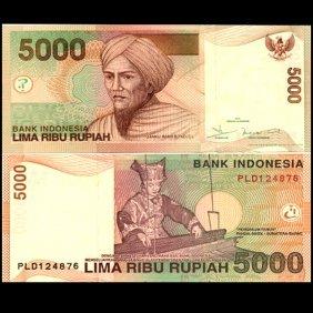 2002 Indonesia 5000 Rupiah Note Gem Crisp Unc