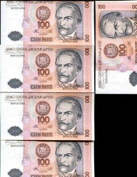 1987 Peru 100 Intis Crisp Unc Note 10pcs Scarce
