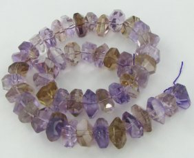 570twc Purple Green Faceted Amethyst Crystal Strand