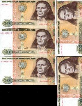 1987 Peru 500 Intis Crisp Unc Note 10pcs Scarce
