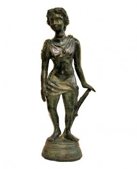 Antique Late 1800s Bronze Athena Statye