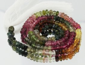 47.3ct Multi-color Tourmaline Faceted Bead Strand