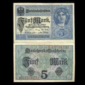1917 Germany 5 Mark Note Hi Grade Scarce