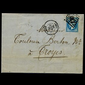 1865 France 20c #26 Cover Scarce