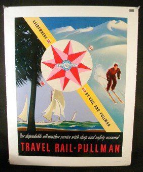VINTAGE POSTER - TRAVEL RAIL-PULLMAN 1940'S WITH SAI