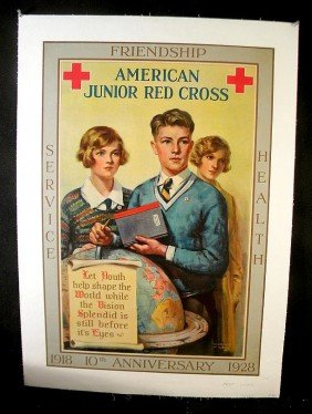 VINTAGE POSTER- 1928 AMERICAN JUNIOR RED CROSS 10TH