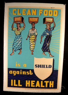VINTAGE POSTER-CLEAN FOOD IS A SHIELD AGAINST ILL H
