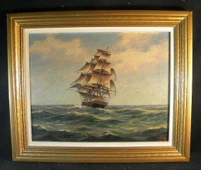Alexander Nelke Oil On Canvass Masted Ship 19th-20th