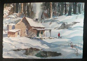 John Pike W/c Winter Cabin Scene W/Man & Dog