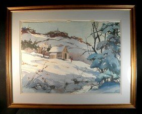 John Pike Large Watercolor Winter Landscape