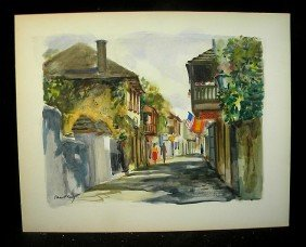 Emmett Fritz Watercolor Street Scene W/ Candy Kitch