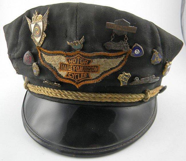 Vintage Harley Davidson Leather Biker Hat Large Licensed  |Vintage Harley Davidson Hats