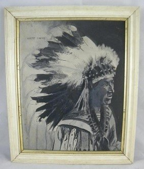 Gouache On Paper Painting Of Indian Chief White Swa