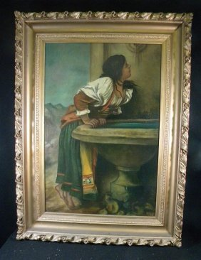 19th C O/Canvas Indian Girl Standing At Urn With Wa