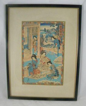 19TH CENTURY JAPANESE WOODBLOCK, SIGNED, MEASURES 14