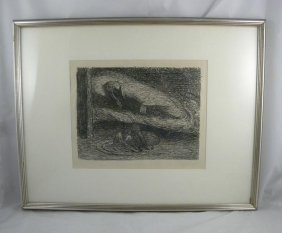 ERNST BARLACH SIGNED LITHOGRAPH TITLED TRAUMENDER JU